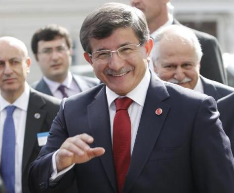 Turkish Foreign Minister Davutoglu arrives for a Council of Europe meeting in Vienna